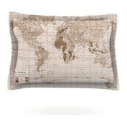 """Kess InHouse - Catherine Holcombe """"Emerald World"""" Vintage Map Pillow Sham (Cotton, 30"""" x 20"""") - Pairing your already chic duvet cover with playful pillow shams is the perfect way to tie your bedroom together. There are endless possibilities to feed your artistic palette with these imaginative pillow shams. It will looks so elegant you won't want ruin the masterpiece you have created when you go to bed. Not only are these pillow shams nice to look at they are also made from a high quality cotton blend. They are so soft that they will elevate your sleep up to level that is beyond Cloud 9. We always print our goods with the highest quality printing process in order to maintain the integrity of the art that you are adeptly displaying. This means that you won't have to worry about your art fading or your sham loosing it's freshness."""