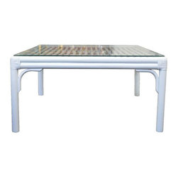 Pre-owned Baker Rattan & Glass Top Coffee Table - This rattan coffee table by Baker has been newly lacquered in a shiny white, for a fresh new look! This table has a removable glass top and is in excellent condition.