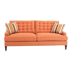 Heritage Furniture - Heritage Furniture Oliver Sofa - Chic, modern, elegant - this vibrant terracotta orange couch has two loose back and seat cushions with a simple welted edge, and symmetrical button tufting on the backrest cushions for added texture. Simple and structures, with low sloping arms and clean-lined tapered walnut legs, the sophisticated mid-century style of the sofa adds a tailored, fresh look to a room. Two striped throw pillows in tones of orange, grey, beige and cream add the perfect touch of pattern to the minimalistic contemporary sofa.Upholstery crafted from polyesterWood finished with dark walnut veneerTwo striped throw pillows includedPillows match the Laurence Side ChairMade in the USA