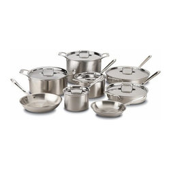 All-Clad - All-Clad d5 Brushed Stainless 14-Pc Cookware Set - Whether you're a cooking pro or novice, you'll have the tools you need for everyday cooking with the All-Clad 14-Piece d5 Brushed Set. All-Clad's d5 Brushed collection is made to resist warping and features bonded stainless steel for exceptional, even heating, especially in induction cooking. Stick-resistant, 18/10 stainless steel starburst interiors, and comfortable oversized handles make these reliable, go-to pieces. This 14-piece set includes 8- and 10-inch fry pans, 2- and 4-quart saucepans with lids, 3- and 6-quart sauté pans with lids, and an 8- and 12 quart stockpot with lid. A Durable, Practical Set for Everyday Cooking This 14-piece d5 Brushed Set provides the pieces you need for most day-to-day cooking tasks. Ideal as a wedding gift or as a high-performance addition to kitchens, this collection is constructed for a lifetime of use and culinary performance. Pieces from this collection feature a lustrous brushed stainless steel exterior. Riveted oversized handles stay cool on the cooktop, while easy-grip loop handles on the lids provide stability. The bottom of each pan features an engraved capacity marking, and each piece is designed with a rolled lip for easy pouring. From All-Clad's d5 Brushed Stainless Steel Collection Cookware from the All-Clad d5 Brushed collection features bonded five-ply construction with alternating layers of stainless steel and aluminum. This layered construction eliminates warping and enables even heating. And with 18/10 stainless steel interiors, d5 Brushed cookware is stick-resistant and non-reactive to food. Pieces from this collection feature attractive brushed stainless steel exteriors that complement many kitchen styles. Compatible with a Range of Cooking Surfaces d5 Brushed products are optimized for induction cooking, but they also perform well on traditional cooktops, in the oven, or under the broiler. The pieces are dishwasher safe for easy, convenient cleaning.