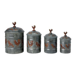 Old Dutch International - 4-Pc Rooster Canister w Fresh Seal Covers - Includes canisters of 1, 1.5, 2 and 4 quarts. Made from steel. Antique pewter finish. 7.25 in. dia. x 11 in. H (5.2 lbs.)
