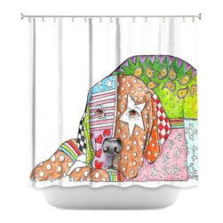 DiaNoche Designs - Shower Curtain Artistic - Lab Dog - DiaNoche Designs works with artists from around the world to bring unique, artistic products to decorate all aspects of your home.  Our designer Shower Curtains will be the talk of every guest to visit your bathroom!  Our Shower Curtains have Sewn reinforced holes for curtain rings, Shower Curtain Rings Not Included.  Dye Sublimation printing adheres the ink to the material for long life and durability. Machine Wash upon arrival for maximum softness on cold and dry low.  Printed in USA.