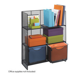 Safco - Onyx Fold-Up Shelving - Black - Create a dynamic workspace with Fold-Up Shelving that can keep books, binders and reference materials organized while adding storage for files and other necessities! Made from Black mesh, this three shelf bookcase is stylishly designed to be sturdy and durable. The edges are rounded for a delicate look that blends into every environment. The bottom shelf features tracks for two file folder bins.