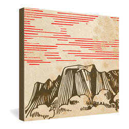 DENY Designs - Robert Farkas Carpathian Gallery Wrapped Canvas - The Carpathian mountain range is captured in a vintage-looking sketch complete with color-aging and smudges. Robert Farkas' digital print is dyed onto the fibers of a frameless canvas for a contemporary presentation.