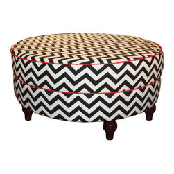 Chevron Round Ottoman - This is such a pretty ottoman, and the great thing is that more than one person can sit on it. It's perfect for parties.