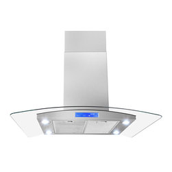 "AKDY - AKDY AK-Z668IS2 Euro Stainless Steel Island Mount Range Hood, 30"", Duct/Pipe - Elegant European curved glass design that is both beautiful and functional. The airy design is a stunning focal point that complements its surrounding perfectly. AKDY brings you the 668IS2 30"" Curved Glass Canopy Island Hood with an 870 CFM Internal Blower. Use this AKDY stainless steel and glass chimney hood to keep your range free of steam and smoke while you cook. This powerful island hood will keep your kitchen running optimally for cooking and baking. Features: 3-speed electronic touch screen with speed selection indicator. Bright quad LED lighting (bulbs included)."