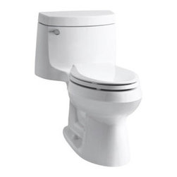 KOHLER - KOHLER K-3828-0 Cimarron Comfort Height One-Piece Elongated 1.28 GPF Toilet and - KOHLER K-3828-0 Cimarron Comfort Height One-Piece Elongated 1.28 GPF Toilet with Class Five Flush System and Left-Hand Trip Lever in White