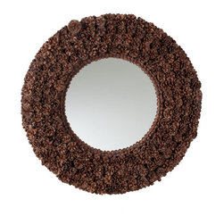 Rustic Pinecone Mirror - Add a little fun with shape and texture to your wall space with our Rustic Pinecone Mirror. It is crafted with real pinecones and it is small enough to fit anywhere. Hang it in the bathroom for some added light, or put it in an entertaining space as a conversation piece.
