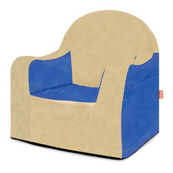 P'kolino - Little Reader, Blue/Tan - -Perfectly sized for toddlers, this durable chair is feathery light, and with the aid of the handle, your little one can tote this chair to their favorite quiet spot.