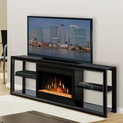 "Dimplex Novara Black Entertainment Center Electric Fireplace - The Dimplex Novara Black Entertainment Center Electric Fireplace effortlessly blends minimalist style, media console, and electric fireplace into one elegant console. Designed to support flat panel televisions up to 60 inches, the Novara electric fireplace has simple, sleek shelves and a striking black finish. Instantly add ambiance to the room with the click of the ""on"" button, and watch as lifelike flames dance across glowing logs. Choose from inner glow logs molded from wood logs for incredible realism or a contemporary glass ember bed that creates an alluring fire on ice effect. Use the Novara electric fireplace every time you watch TV. The flame can operate with or without heat, so you enjoy fire-lit ambiance year-round. It's safe and green, too. The Novara electric fireplace doesn't produce carbon monoxide or other emissions, and the glass screen stays cool to the touch, so the whole family can enjoy the fun of a fireplace. Whether you are watching TV, or just watching the dazzling flames - or both - we know you will love this fireplace console.About DimplexDimplex North America Limited is the world leader in electric heating, offering a wide range of residential, commercial, and industrial products. The company's commitment to innovation has fostered outstanding product development and design excellence. Recent innovations include the patented electric flame technology - the company made history in the fireplace industry when it developed and produced the first electric fireplace with a truly realistic ""wood burning"" flame effect in 1995. The company since has been granted 87 patents covering various areas of electric flame technology, and 37 more are pending. Dimplex is a green choice, because its products do not produce carbon monoxide or other emissions."