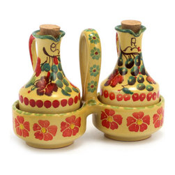 Artistica - Hand Made in Italy - Marikla: Oil and Vinegar Cruets Set with Caddy - The all New Marikla is truly a distinctive collection of table top and gift items.