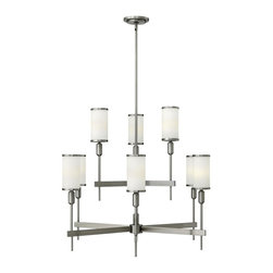 Hinkley Lighting - 4078BN Princeton 9-Light Two-Tier Chandelier, Brushed Nickel, Etched Opal Glass - Traditional Two Tier Chandelier in Brushed Nickel with Etched Opal glass from the Princeton Collection by Hinkley Lighting.
