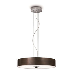 Philips - Philips PH-403391148 Fresco Pendant Light with Brown shade and etched glass, Chr - Philips PH-403391148 Fresco Pendant Light with Brown shade and etched glass, Chrome