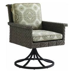 Lexington - Tommy Bahama Blue Olive Swivel Rocker Dining Chair - Enhance the dining experience with a comfortable swivel and rocking option which puts relaxation in a whole new context. The aluminum frame features a unique textured finish paired with herringbone woven channels that fuse five distinct hues into each strand. The seat and back cushion provide additional comfort and allow complementary or contrasting colors to enhance your setting.