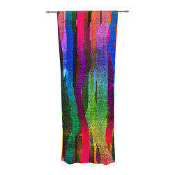 "Kess InHouse - Frederic Levy-Hadida ""Jungle Stripes II"" Black Rainbow Decorative Sheer Curtain - Let the light in with these sheer artistic curtains. Showcase your style with thousands of pieces of art to choose from. Spruce up your living room, bedroom, dining room, or even use as a room divider. These polyester sheer curtains are 30"" x 84"" and sold individually for mixing & matching of styles. Brighten your indoor decor with these transparent accent curtains."