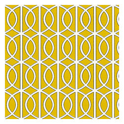 Yellow Modern Trellis Linen Fabric - Rounded trellis in yellow & white on soft lightweight line. Your gateway to a chic modern look.Recover your chair. Upholster a wall. Create a framed piece of art. Sew your own home accent. Whatever your decorating project, Loom's gorgeous, designer fabrics by the yard are up to the challenge!