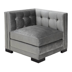 Royce Corner Chair - Make a statement with our Royce Corner Chair, a Z Gallerie exclusive. Royce has been strikingly upholstered in our Charcoal Brussels fabric with an elegant tight hand-tufted back design. The legs feature an espresso finish.