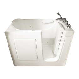 American Standard - 31 inch x 51 inch Walk-In Whirlpool Tub with Right Drain in White - American Standard 3151.201.WRW 31 inch x 51 inch Walk-in Whirlpool Tub with Right Drain in White.