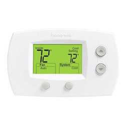 Honeywell - Honeywell The Focuspro Non-Programmable Digital T-Stat - Honeywell -- white. Provides low-voltage 24 VAC control of two-stage heating and one-stage cooling. Mercury switch, temperature at a glance, indicator lights tell when the system is in emergency or auxiliary heat modes. Plastic levers click easily into heat, off, cool or emergency heat modes. Eco Source Exclusive. Min. Order: 1 EA