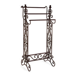 iMax - iMax Narrow Quilt Rack X-1877 - Traditional, narrow wrought iron quilt or towel rack in a dark finish with open-metalwork design features 3 horizontal bars