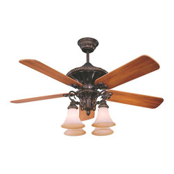 "Karyl Pierce Paxton - Karyl Pierce Paxton 52-500-5WA-56 Villamoura 52"" Traditional Ceiling Fan - This ceiling fan boasts clean, classical details with its best-selling New Tortoise Shell finish and Walnut blades. Adding to the appeal, this fan is Energy Star Rated."