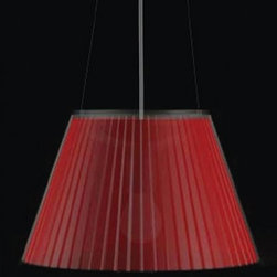 """Artemide - Artemide Choose pendant light - The Choose pendant light from Artemide has been designed by Matteo Thun in 2008. This suspension mounted luminaire is great for direct and diffused incandescent or fluorescent lighting. The Choose is composed of a grey thermoplastic canopy, clear electrical cords and a stainless steel cable The shade of this lamp is made from transparent polycarbonate with a pleated design incorporating an optional insert in red polycarbonate, parchment paper or with no insert at all  UL listed.  Product Details:   The Choose pendant light from Artemide has been designed by Matteo Thun in 2008. This suspension mounted luminaire is great for direct and diffused incandescent or fluorescent lighting. The Choose is composed of a grey thermoplastic canopy, clear electrical cords and a stainless steel cable The shade of this lamp is made from transparent polycarbonate with a pleated design incorporating an optional insert in red polycarbonate, parchment paper or with no insert at all  UL listed.  Details:       Manufacturer:     Artemide      Designer:    Matteo Thun      Made in:    Italy      Dimensions:     Height: max 78.75"""" (200 cm) Width: 14 3/16"""" (35.8 cm)      Light bulb:     1 X 100W incandescent or 1 X 32W fluorescent      Material:     Stainless steel, Thermoplastic, Polycarbonate"""