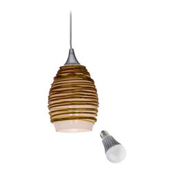 Access Lighting - Adele Amber Glass Mini-Pendant with LED Bulb - 23733-AMB/ 8W  LED - Fine amber glass threads encircle a white inner glass shade, creating a unique contrast. The brushed steel mounting hardware and 10-feet of clear hanging cord lend a modern touch. Included is an energy savings LED bulb which lasts up to last 6 times longer than compact fluorescent bulbs and 35 times longer than an incandescent. Features a medium base with white diffuser and vented heat sink. Takes (1) 9.5-watt LED A19 bulb(s). Bulb(s) included. Dry location rated.