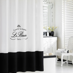 "Horchow - ""Le Bain"" Shower Curtain - WHITE - ""Le Bain"" Shower CurtainDetailsMade of embroidered cotton.Crest design and the words ""Luxury for the Home The Bath Paris"" in French on center.Dry clean.72""Sq.Liner not included.Imported."
