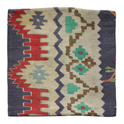 Hand Woven Original - Ivory background Antique Kilim Pillow Cover - Hand Woven from an Antique Turkish Kilim Carpet, this pillow cover has a Wool front and cotton back with Zipper entry.  Please note:  pillow insert not included.