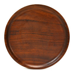 None visible - Consigned Round Wooden Drinks Serving Tray - Classical round serving tray carved in wood, vintage English, second half of the 20th century.