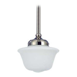 Design Classics Lighting - 8-Inch Schoolhouse Mini-Pendant Light in Polished Nickel Finish - FA4-15 / GD8 - Polished nickel finish mini-pendant light with Bridlemile schoolhouse opal white glass. Includes three 12-inch and one six-inch stem segments to allow for flexibility in height adjustment from a minimum of 17-inches to a maximum height of 52-1/2-inches. Takes (1) 150-watt incandescent A21 bulb(s). Bulb(s) sold separately. UL listed. Dry location rated.