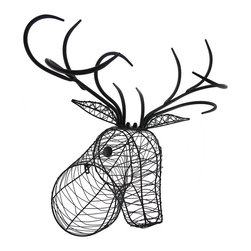 Zeckos - Deer Head Wall Hanging Metal Wire Wall Sculpture - This exceptional hand-crafted deer head statue is hand-sculpted using black satin finish metal wire with solid metal antlers, and is great for the wall in your entryway, man cave or mounted on your trophy wall This substantially sized 22 inch high, 20 inch long, 14 inch wide (56 X 51 X 36 cm) deer head would look great strung with lights, or wrap it in greenery or flowers and hang it near your garden entry for a truly unique display, and it easily mounts using the attached keyhole hanger This wire deer head sculpture is great as a gift any animal or art lover is sure to enjoy NOTE: For shipping purposes, the antlers are not attached, and easily secure using the included hardware.