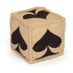 Well Suited Pouf in Spades - Kick up your feet and enjoy a game of cards with friends. This funky pouf is all suited up and ready to go. The cool, hand-dyed upholstery provides an elegant touch.