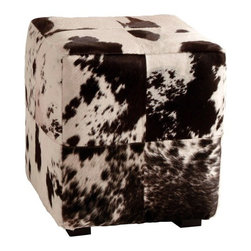 Arteriors - Hugo Leather Patchwork Ottoman - Large squares of black and white hide are sewn together to create a patchwork pattern. Hide patterns will differ and color will vary.