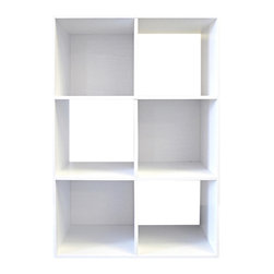 Proman Products - Proman Products Colonial 6-Cell Storage Cube in White Wood - 6-Cell Storage Cube in White Wood belongs to Colonial Collection by Proman Products Colonial 6-cell storage cube, white wood grain paper laminate on P/B, 3 cell see through, 3 cell with back board. Cell dimension 11 1/4 x 11 1/4 x 11 1/2, can be placed horizontally or vertically, stackable, matching fabric bins available. Bookcase (1)