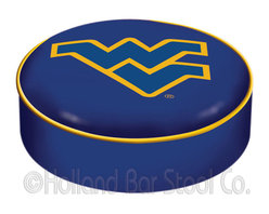 "Holland Bar Stool - Holland Bar Stool BSCWestVA West Virginia Seat Cover - BSCWestVA West Virginia Seat Cover belongs to College Collection by Holland Bar Stool This West Virginia bar stool cushion cover is hand-made in the USA by Covers by HBS; using the finest commercial grade vinyl and utilizing a step-by-step screen print process to give you the most detailed logo possible. This cover slips over your existing cushion, held in place by an elastic band. The vinyl cover will fit 14"" diameter x 4"" thick seats. This product is Officially Licensed. Make those old stools new again while supporting your team with the help of Covers by HBS! Seat Cover (1)"