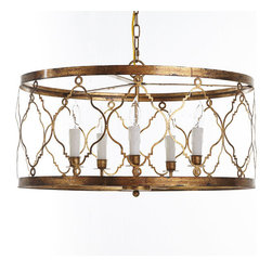 Marrakesh Chandelier - We get inspired by all sorts of items from all sorts of places. The arabesque-style frame of this chandelier comes from an antique tile pattern we found in Morocco. Though the gilt finish could be attributed to our love of ancient Egyptian history or lavish Louis XV salons, it really just comes from our fascination with all things shiny. Make it really shine with five candelabra bulbs. We recommend professional installation. Comes with a 6' adjustable chain.