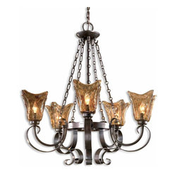 Vetraio 5 Light Oil Rubbed Bronze Chandelier - *Heavy Hand Made Glass Is Held In Classic European Iron Works Giving These Pieces A Contemporary Quality, With Strong Traditional Appeal As Well.