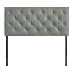 Theodore Queen Fabric Headboard - The versatility of this element of decor emphasizes its importance. As the headboard functions as the centerpiece of your bedroom, Theodore's deep button tufting makes sure to convey a classic style that cant be dressed down. Fully upholstered in padded fabric, the Theodore headboard imbues a strong sense of style, while presenting a modern piece full of boxy lines that accessorize with many looks.