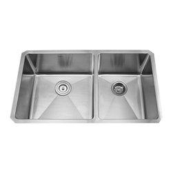 "Kraus - Kraus 33"" Undermount Double Bowl Stainless Steel Sink Combo Set, Chrome Faucet, - Add an elegant touch to your kitchen with unique Kraus kitchen combo"