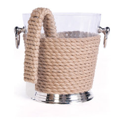 Go Home - Coastal Ice Bucket and Tongs-Set Of 2 - Stunning Coastal Ice Bucket and Tongs is a great ice bucket. The light colored rope wraps around this plastic ice bucket.It has brass handles which make this easy to use. Made from plastic, brass, and rope and naturally finish. It is sold as a set of two.