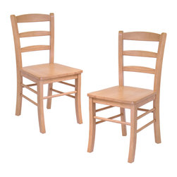 Winsomewood - Set of 2 Ladder Back Chair, Rta - The simple and straight forward, yet classic look of these ladder back chairs allow them to be used with a variety of decors from country to contemporary. Their design and light oak finish pair up well with our 34130 Light Oak Finish, Square Dining Table