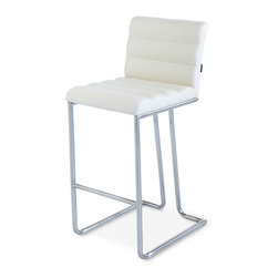 Zuri Furniture - Luna Counter Height Bar Stool - Cream - The Luna polished chrome counter stool is a modern piece with a retro twist. Padded with high density foam and covered in soft faux leather for superior comfort, the quilted stitching adds a touch of opulence. This extremely comfortable counter stool cradles the body. Weight capacity of 275 lbs.
