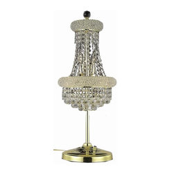"""PWG Lighting / Lighting By Pecaso - Adele 6-Light 12"""" Crystal Table Lamp 1530TL12G-EC - This classic, elegant Empire series is flowing with symmetry creating a dramatic explosion of brilliance. Adele is a dynamic collection of Crystal Chandeliers that add decorative drama to any setting."""