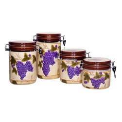 "Home Essentials - Tuscan Grape Ceramic Canister Set - Storage becomes an essential part of your home decor with our charming and attractive grape designed canisters! Both functional and beautiful, our canister set is ideal for storage of kitchen staples and will spice up any kitchen or living room with culinary style. They offer a chic yet refined look to your modern interiors and seal the freshness of your food with their tight sealing lids. The rich, colorful grapes and texture of our canister set transports you to Tuscany with each amazing meal. * Set of 4, * Gift boxed * Material: ceramic * Dimensions: Small: H: 5"" D: 5.1"" Medium: H: 6"" D: 5.1"" Large: H: 7.8"" D: 5.1"" Extra large: H: 9"" D: 5.1"""