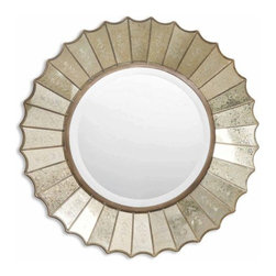 """Uttermost - Amberlyn Round Beveled Mirror With Fan Edged Frame - Uttermost 08028 B Amberlyn MirrorThe round, center mirror with generous 1 1/4"""" bevel, is surrounded by heavily antiqued gold leaf mirrors with burnished edges and antiqued, etched glass panels.Features:"""
