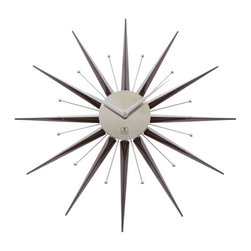 Cupecoy - Sunburst Wall Clock - Take a trip back in time with this blast from the past! Straight out of the sixties, our ultra modern wall clock brings a fabulous retro feel to any room in your house! A nod to George Nelson, one of the most influential designers of the mod movement, this brown and silver metal and plastic clock adds a burst of style to any wall.