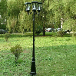 """Gamasonic - Victorian Solar Lamp Post - Triple - Black - Enjoy a romantic evening with your loved one under the glow of our 7' high solar powered traditional styled lamp posts. They comewith 3 lights whichuse a special patented cone reflector to make the light brighter. This all alluminium construction tall lamp post will illuminate yourgarden with our energy efficient, super-bright LED's.The gas-light design of our solar lamp is classic and adds an elegant appeal to your front or back yard.;Features: Solar lamp lights are an elegant, energy-efficient way to light your way;Black finish;Automatically turn on and off, however, there is also a manual on/off switch for your convenience;6super-bright LED bulbs are powered by the built-in, solar-powered batteries;Beautiful beveled glass, these solar lamp lights are reminiscent of the late 19th Century lamps;Special patented cone reflector to make the light brighter;Solar lamp lights have a durable, rust-resistant frame can be bolted down (bolts included);LED Color: White;Specifications: Rechargeable battery: Ni-Cd;Voltage: 4 x 1.2V AA;Charging capacity: 2000mAh;Lamp type: Super Bright LED;Power source: Mono Crystalline Solar Cell;Light duration: Dusk To Dawn;Product Measurement: 7' 6"""""""