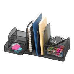 """Safco - Onyx Three Upright Sections/Two Baskets - Black - Onyx it! Organize with three vertical sections for file folders or binders. Store small items in two slide-out baskets for easy access. Side shelves are designed for small electronics and miscellaneous accessories.; Features: Material: Steel; Color: Black; Finished Product Weight: 3 lbs.; Assembly Required: Yes; Tools Required: No; Limited Lifetime Warranty; Dimensions: 17""""W x 6 5/8""""D x 7 3/4""""H"""