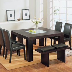 Global Furniture - G020 Wenge Dining Set - 15230 - The G020 Dining Table by Global Furniture is a modern styled piece. The wenge Finish compliments the style.